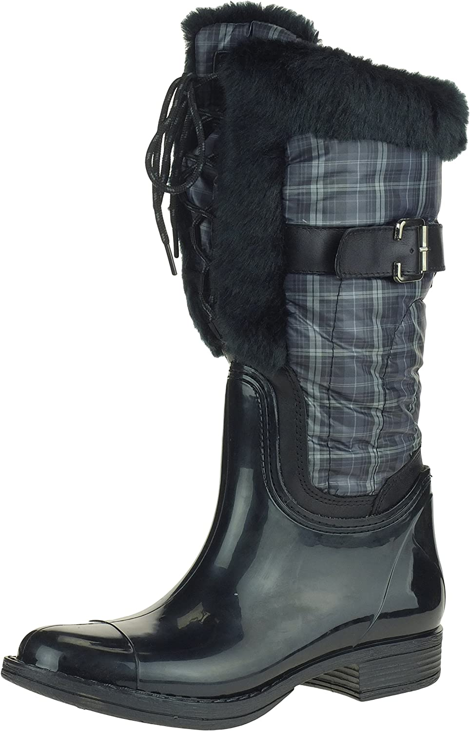 London Fog LORY II Women's Insulated Rain Boots with Faux Fur Trim, Black