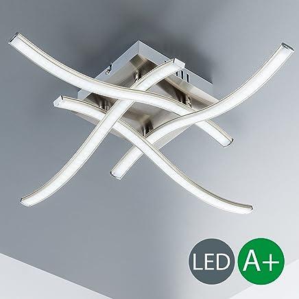 LED Deckenleuchte I 4 flammig I moderne Deckenlampe I inkl. 4 x 3,4 W 350lm LED Platine I 3000K I matt-nickel I IP20