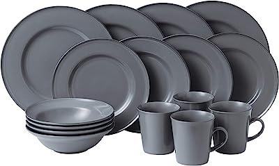 Royal Doulton Union Street Cafe Grey 16-Piece Dinner Set, Gray