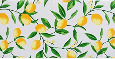 DII CAMZ11287 Table Runner, Spilll Proof and Waterproof for Outdoor or Indoor Use, Machine Washable, 14x72, Lemon Bliss