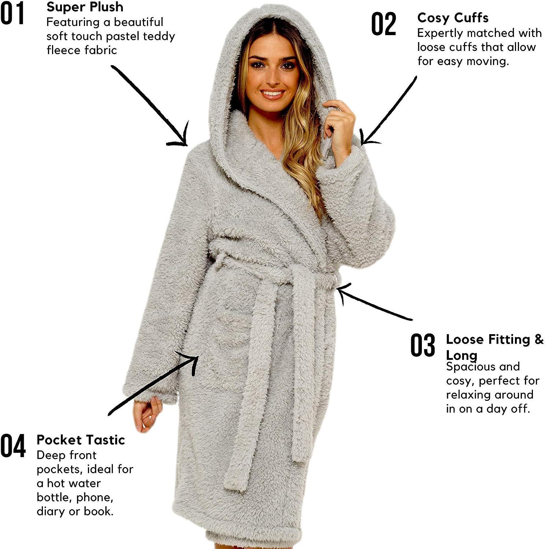 Daisy Dreamer Womens Soft Teddy Hooded Robe Dressing Gown Bath Robe for Ladies Housecoat Loungewear Bathrobe Gowns