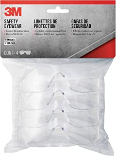 3M 90834-00000B Indoor Safety Eyewear, Clear Lens, Contractor Pack, 4-Pack