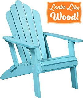 PolyTEAK Seashell Oversized Folding Poly Adirondack Chair, Turquoise Blue | Adult-Size, Weather Resistant, Made from Plastic