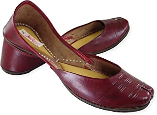 Fulkari Women's Soft Leather Bite and Pinch Free Pure Leather Natural Comfortable Casual Jutis Ethnic Flat Shoes