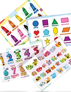 Colorful Placemats for Kids - Set of 4 Educational Non Slip Placemats are Easy to Clean - Motivate Kids to Learn While They Eat