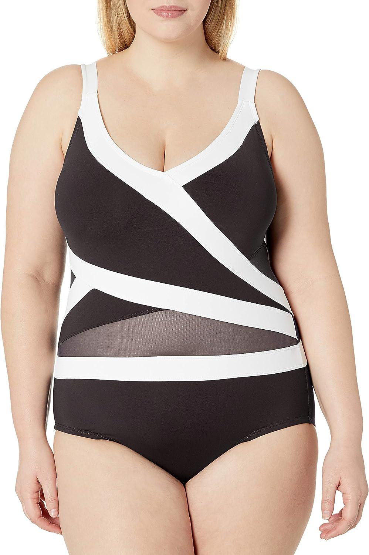 Anne Cole Women's Mesh-Insert Asymmetric Spliced One-Piece Swimsuit