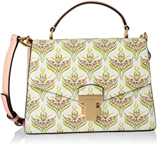 Tory Burch Juliette Small Printed Satchel with top handle, Pink Meridian
