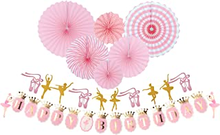 MEANT2TOBE Ballerina Birthday Party | Ballet Dancer Party Supplies Banner| Baby Girl Ballet Happy Birthday Banner| Ballet Girls Dancer Banner Garland for Birthday Party Favors Decoration (Pink)
