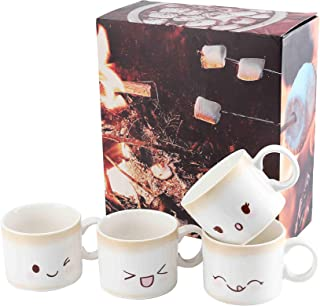 Marshmallow Coffee Mug Set of 4, Full Sized (12 oz, 4 inches wide and 3.2 inches tall)