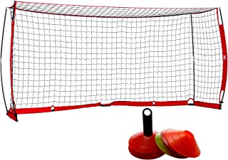 ZELUS Portable Soccer Goal Set: 12x6 ft Soccer Goal for Backyard Practice and 12 Soccer Cones | Soccer Equipment for Training & Fun Toys for Outdoor Play w Knotless Net, 12 Sport Cones