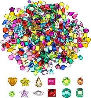 Yesland 2400 Pcs Gems Acrylic Flatback Rhinestones Gemstone Embellishments, 12 Shapes Jewels Stickers Rhinestones, Muticol...