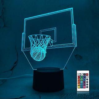 CooPark Basketball Luz nocturna 3D junto a la lámpara de mesa, interruptor táctil de cambio automático de 16 colores, decoración de escritorio con control remoto