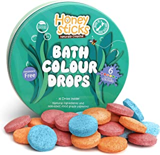 Honeysticks All Natural Bath Color Tablets for Kids - Non Toxic Bath Color Drops Made with Food Grade Ingre...