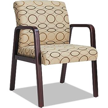 Alera ALERL4351M Reception Lounge Series Guest Chair, Mahogany/Tan Fabric