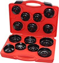 Kauplus 15PCS Cup Type Oil Filter Socket Wrench Set, 3/8 inch Drive Oil Canister Socket Service Kit- W/1/2-inch Adaptor