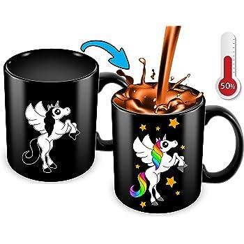 Cortunex Unicorn Color Changing Cup - 11 Ounce Funny Coffee Mug - Great Unicorn Mug For Girls,women,mom And Unicorn Lovers - Cute Mug - Black Ceramic Heat Changing Mug