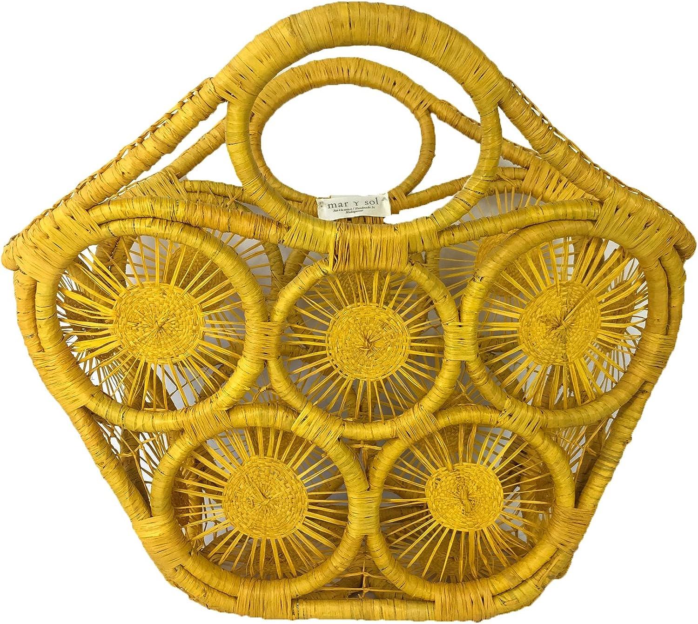 Mar Y Sol Fortaleza Open Weave Straw Tote, Sunflower