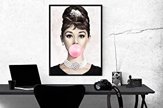 Art Finder Audrey Hepburn bubble gum Poster, Audrey Hepburn bubble gum Print, Audrey Hepburn bubble gum, Audrey Hepburn Poster, Audrey Hepburn Print, Audrey Hepburn Atwork, Wall Art 24x32 inches