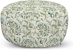 Ambesonne Green Ottoman Pouf, Pastel Colored Floral Ornaments Soft Petals Leaves Vintage Garden Botany, Decorative Soft Foot Rest with Removable Cover Living Room and Bedroom, Multicolor