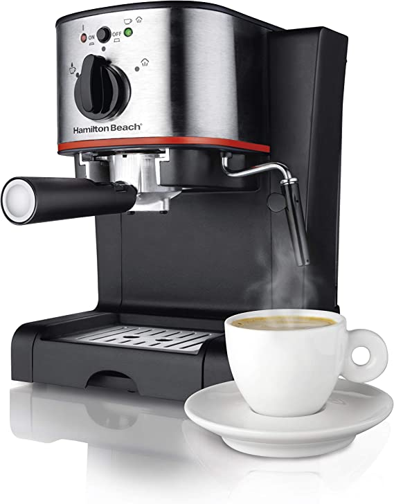 Hamilton Beach Espresso Machine, Latte and Cappuccino Maker with Milk Frother, 15 Bar Italian Pump, Single Cup, Black & Stainless (40792)