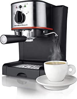 Hamilton Beach Espresso, Latte and Cappuccino Machine with Milk Frother, 15 Bar Italian Pump, Black and Stainless (40792)