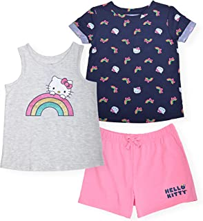 Hello Kitty Girls 3-Piece Printed Tee Shirt Fashion Tank Top and Active Short Set Trendy Summer Clothes for Little Girl