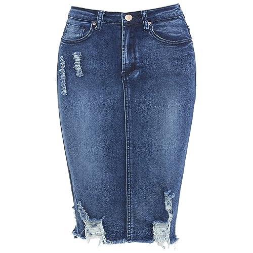 New Denim Pencil Skirt Womens Tube Skirt Stretch Size 6 8 10 12 14 16