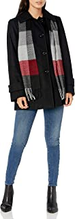 LONDON FOG Women's Single-Breasted Wool Coat with Scarf