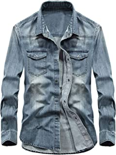 chouyatou Men's Essential Button Down Long Sleeve Washed Denim Shirt