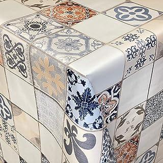 KEVKUS Nappe en toile cirée 06108-01 Mosaïque - Carreaux beige bleu Portugal - Rectangulaire - Rond - Ovale (bord coupé sa...