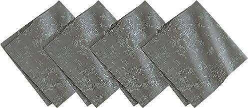 فيليروي آند بوش منديل قماش قطني كتان دمشقي معدني (مجموعة من 4)، 21 × 21 بوصة، رمادي داكن