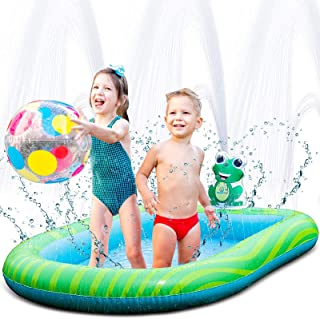 Splashin'kids 2 in 1 Combination Inflatable Sprinkler and Pool Water Park For Children Toddlers Kids Dogs Kiddie Wading Sw...