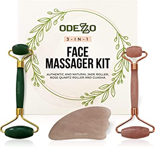 Odezzo - Face Rollers, Facial Jade Massager - Rose Quartz Roller for Face - Microneedling Skin - Rose Quartz GuaSha - Skin Care Tools & Wrinkle Remover: Jade Roller, Rose Quartz Roller & GuaSha