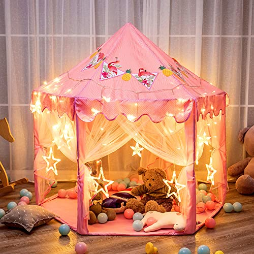 """2021 Twinkle Star 55""""x 53"""" Princess Castle Play Tent for Girls Playhouse with 138 online sale LED Star String Lights and Banners Decor, Kids Game House for Indoor wholesale Outdoor Game(Pink) sale"""