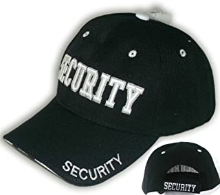 Security Hat Baseball Ball Cap Black Embroidered Adjustable 100% Cotton