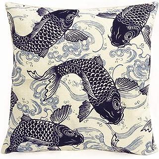 ノーブランド品 WAGARA, Japanese Design Cushion Cover. Square Type. Japanese Art Item for Room Decoration. (Navy Carp)