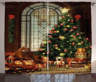 Ambesonne Christmas Curtains, Vintage Ambiance Big Old Fashioned Window Xmas Tree Various Presents, Living Room Bedroom Window Drapes 2 Panel Set, 108