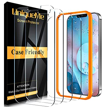 [4 Pack] UniqueMe Screen Protector compatible with iPhone 12 Pro Max (6.7 inch) Tempered Glass, [Case Friendly] 9H Hardness [Alignment Frame Easy Installation] [U-Shaped Cutout] Bubble Free