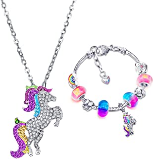 Hicarer Unicorn Sparkly Crystal Charm Bracelet Necklace Set with Greeting Card Gift Box for Girl Lady Christmas Birthday