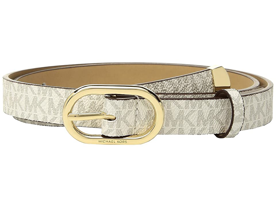 MICHAEL Michael Kors Logo PVC Belt (Vanilla) Women