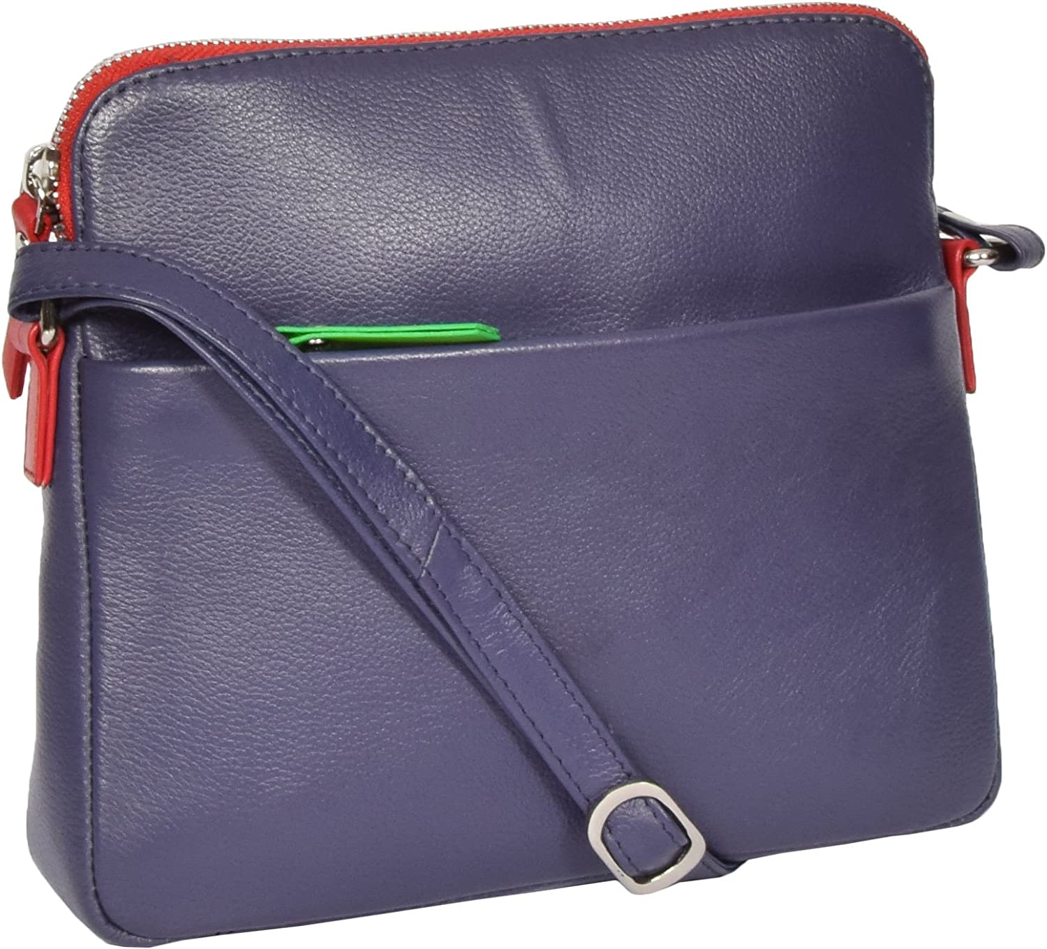 A1 FASHION GOODS Womens Soft Leather Cross Body Bag Purple Zip Top Messenger Sling Shoulder Bag Polly