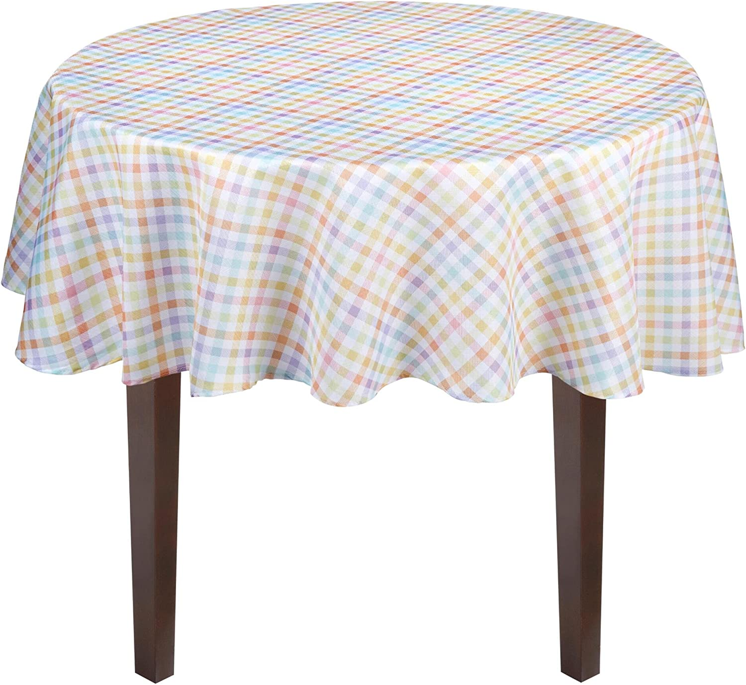 Spring Pastel Gingham Easter Checkered Fabric Tablecloth (70  Round)