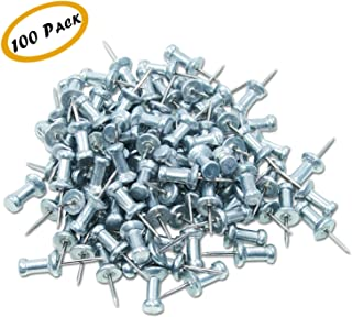 "Push Pins, Steel Aluminum Head Push Pins - Sharp Steel Point - Silver, 3/8"" Long – Box of 100"
