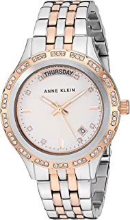 Anne Klein Women's Swarovski Crystal Accented Day/Date Function Two-Tone Bracelet Watch, AK/3475SVRT
