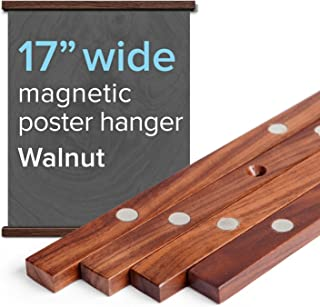 """17"""" Wide Magnetic Poster Frame Hanger in Walnut – Solid Wood and Magnets Strong Enough to Hang Any Length"""