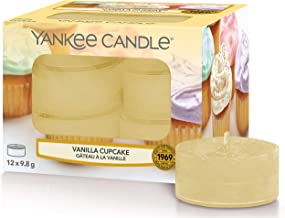 Yankee Candle Tea Light Scented Candles, Vanilla Cupcake, Pack of 12