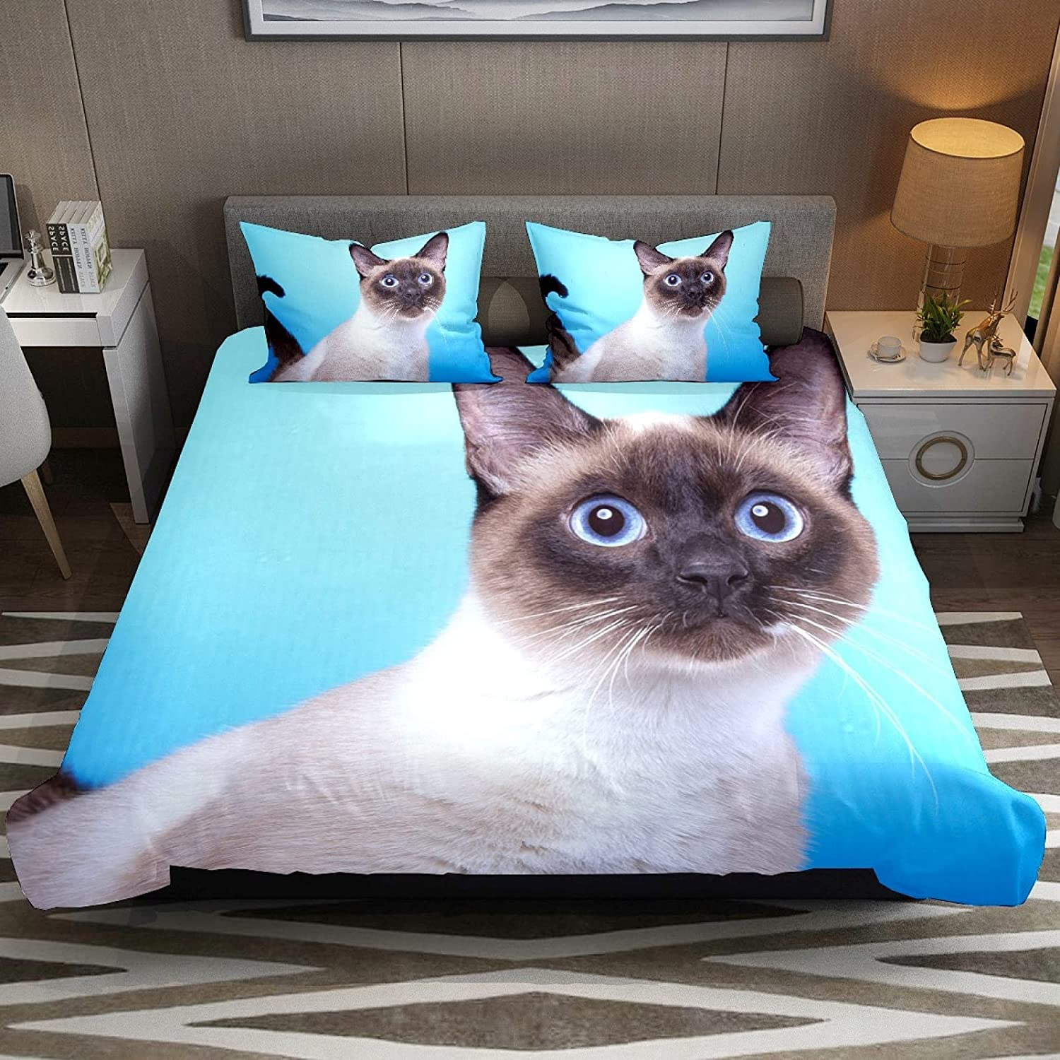 N\O 3 Piece Bedding Sets Siamese Cat Duvet Super popular specialty store 7 Size Set Max 44% OFF Full Cover