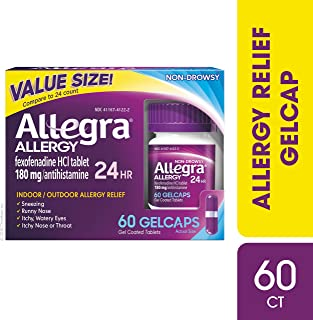 Allegra Allergy 24 Hour Gelcaps 180 mg 60 Count Long-Lasting Fast-Acting Antihistamine for Noticeable Relief from Indoor and Outdoor Allergy Symptoms
