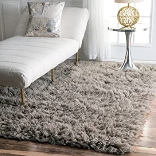 nuLOOM Hand Woven Genuine Greek Flokati Rug, Natural Grey