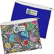 Planet Wise Reusable Zipper Sandwich Bags, 2-Pack, Oasis/Blue Poly